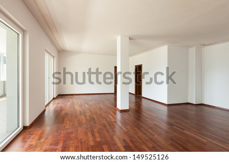 interior apartment, large living room with column - stock photo