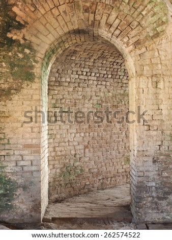 Interior Arched Doorway of Military Fort Built in the 1800s - stock photo