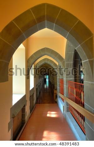 Interior Arches And Corridor Of A Historical Church In Victoria, British  Columbia, Canada