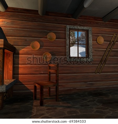 Interior at a log home - stock photo