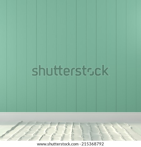Interior background of turquoise wall and a light floor