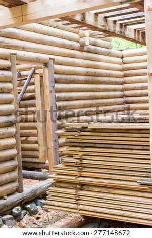 Interior beam detail of a wooden house - stock photo
