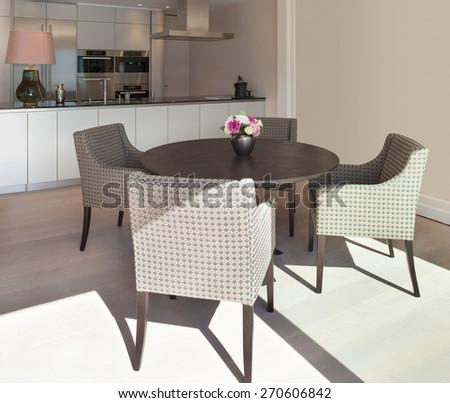 Interior beautiful apartment, elegant dining room - stock photo