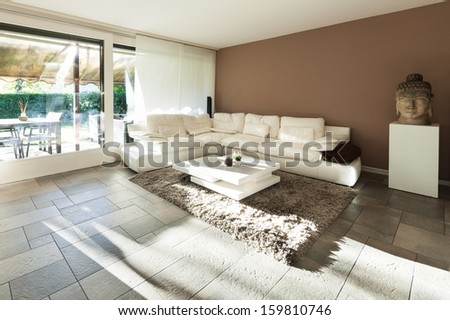 Interior, beautiful apartment, luxurious living room - stock photo