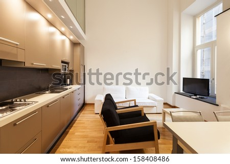 Interior, beautiful apartment, modern furniture
