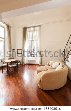 Interior; beautiful apartment; view from the living room - stock photo