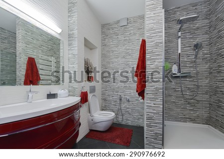 interior beautiful bathroom - stock photo