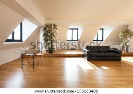 Interior, beautiful loft, hardwood floor, living room - stock photo