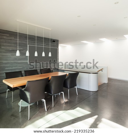 Interior, beautiful modern apartment, wide dining room - stock photo