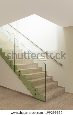 Interior, beautiful penthouse, marble stair - stock photo