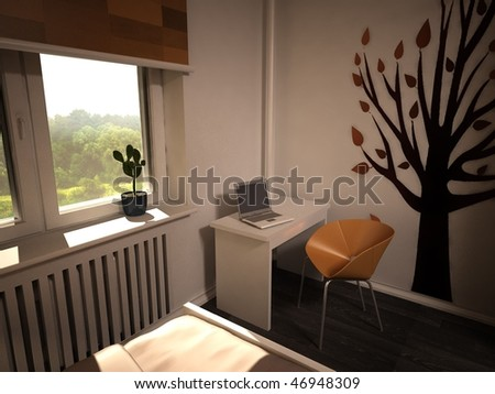 interior bedroom, 3d visualization - stock photo