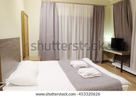 interior bedroom in the hotel - stock photo