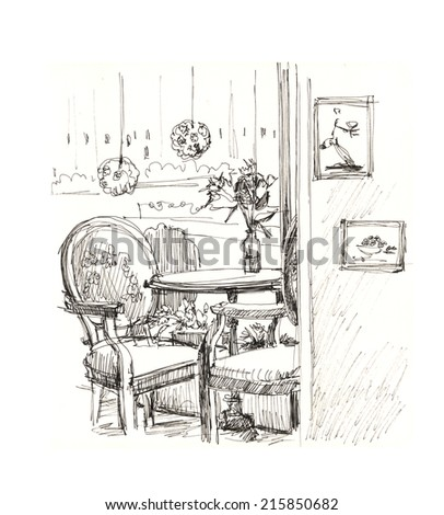 interior cafe, sketch  - stock photo