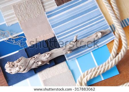 interior color design selection in marine concept style - stock photo