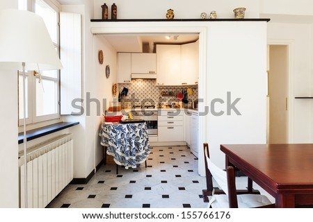 interior, comfortable small apartment, kitchen view  - stock photo