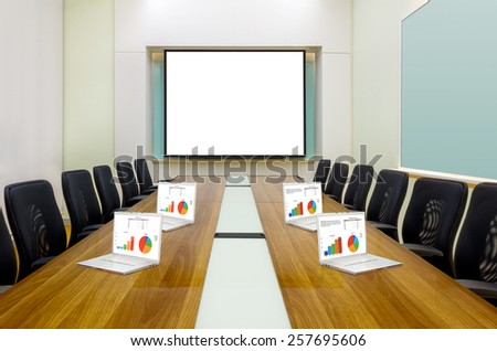 Interior conference room, meeting room, boardroom, Classroom, Office, blank projector screen and laptop. - stock photo