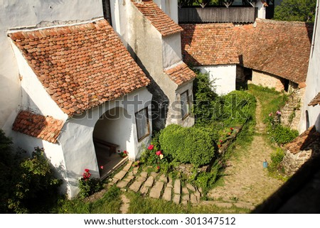 Interior court of a fortified church from Transylvania - stock photo