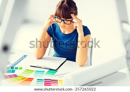 interior design and renovation concept - stressed interior designer - stock photo