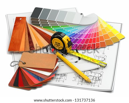 interior design. Architectural materials, measuring tools and blueprints. 3d - stock photo