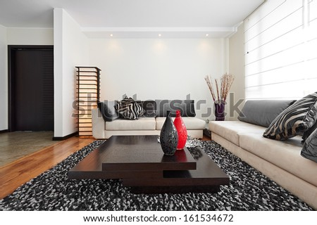 Interior design: Big modern living room - stock photo