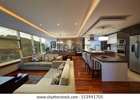 Interior Design Big Modern Living Room Stock Photo ...