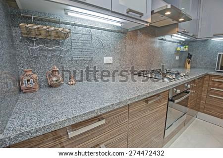 Interior design decor of kitchen in luxury apartment with appliances - stock photo