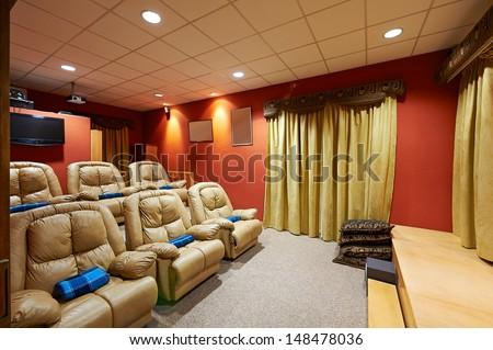 Interior design: Home theater - stock photo
