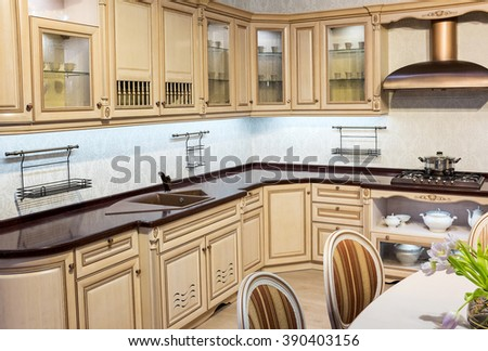 Interior design. Kitchen in classic style