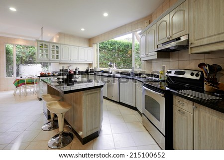Interior design: Modern big kitchen - stock photo