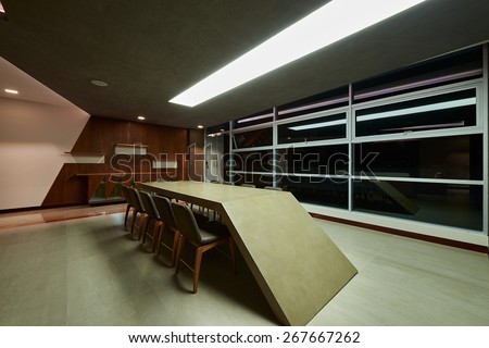 Interior design: Modern office meeting room - stock photo