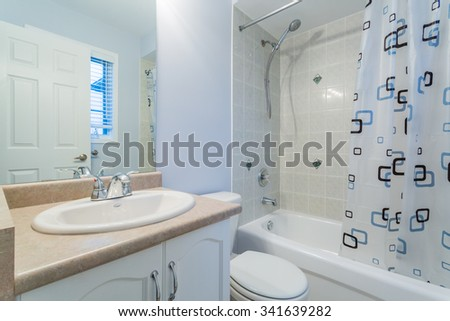 Interior design of a bathroom  in new hotel - stock photo