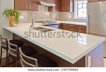 Interior design of a luxury modern kitchen. - stock photo