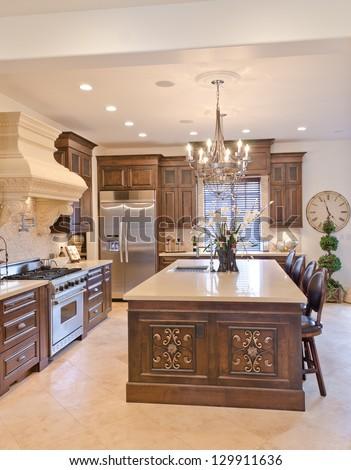 Interior design of a luxury modern kitchen. Vertical. - stock photo