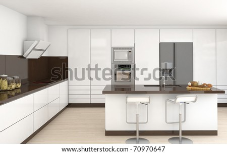 interior design of a modern kitchen in white and brown colors frontal view - stock photo