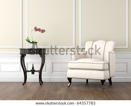 interior design of classic room in beige and white colors with couch table and a vase with orchid, copy space on top half - stock photo
