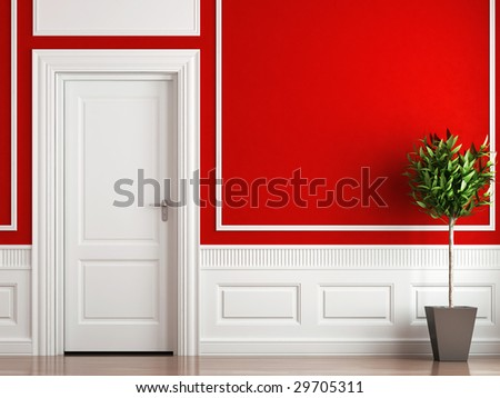 interior design of classic room in red and white colors with plant