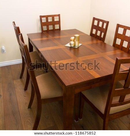 Interior design of dining room in a new house - stock photo