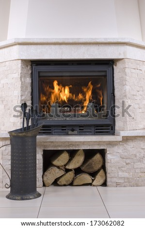 Interior design of living room with fireplace - stock photo