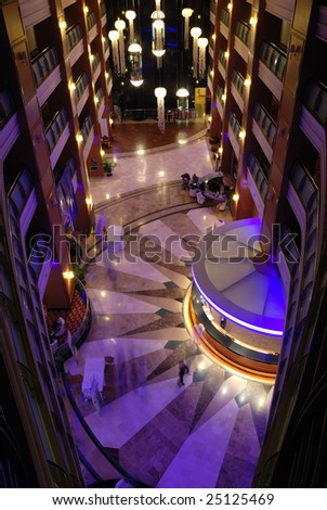 Interior design of luxury hotel lobby. - stock photo