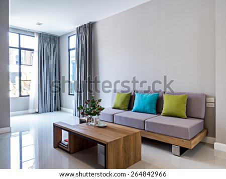 Interior design of minimalist modern Living room with sofa - stock photo