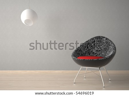 Interior design of modern armchair and lamp against a grey wall - stock photo