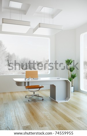 interior design of modern office, 3d render - stock photo