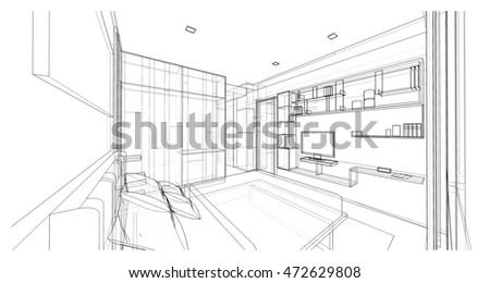 Interior design modern style bedroom 3 d stock for 3d bedroom drawing