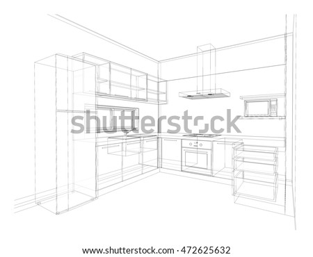 Kitchen Drawing Perspective kitchen drawing stock images, royalty-free images & vectors
