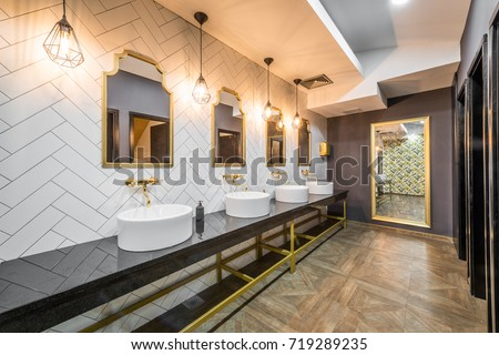 Interior Design Of Public Toilet In Modern Hotel Or Restaurant