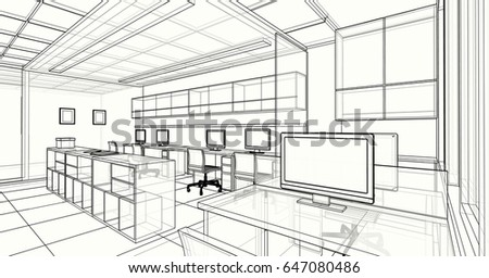 Interior Design Office Sketches interior design living area 3d sketch stock illustration 493136206