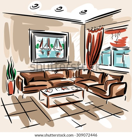 Interior design of the living room with big couch, red blinds and picture with sailboats. Hand drawn sketch. - stock photo