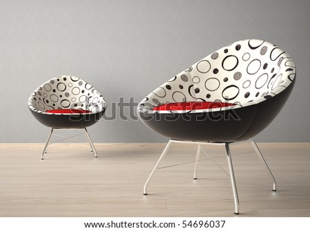 Interior design of two modern armchairs on a grey wall