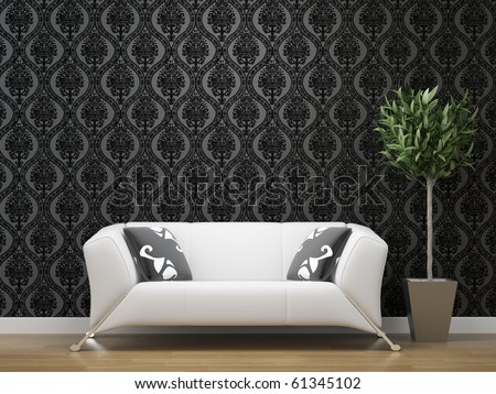 interior design of white sofa on black and silver wallpaper background with copy space - stock photo