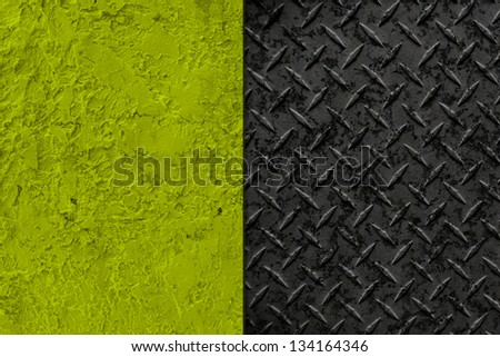 Interior Design - Old Wall With Metal Plate - stock photo